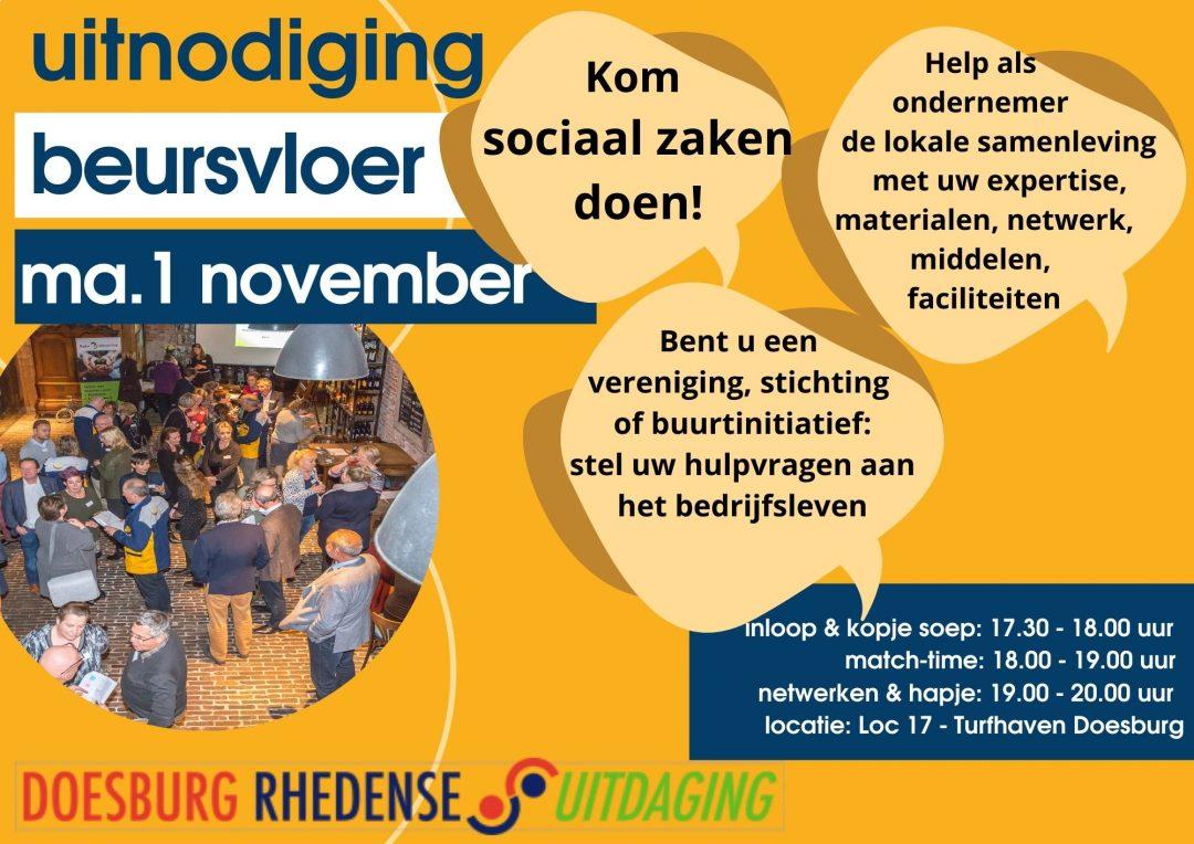 De maatschappelijke beursvloer komt er weer aan! U kunt zich aanmelden via secretariaat@doesburgrhedenseuitdaging.nl