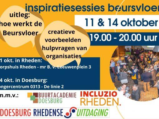 Inspiratiesessie beursvloer, bereid je voor op een succesvol evenement! U kunt zich aanmelden via secretariaat@doesburgrhedenseuitdaging.nl